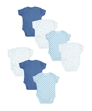 blue and white bodysuits - 7 pack