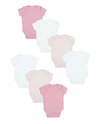 pink and white bodysuits - 7 pack