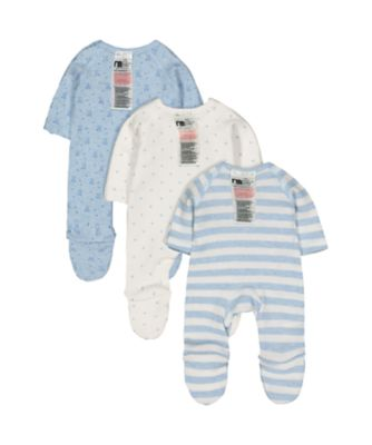 blue premature baby sleepsuits - 3 pack