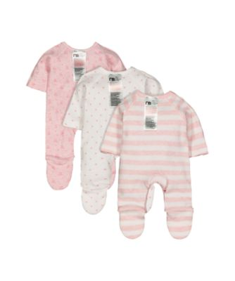 pink premature baby sleepsuits - 3 pack
