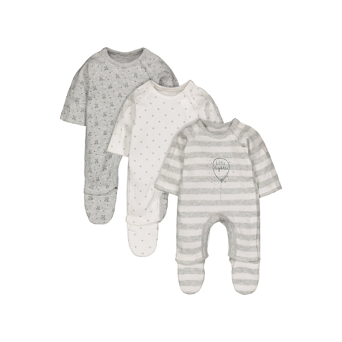 grey premature baby sleepsuits - 3 pack