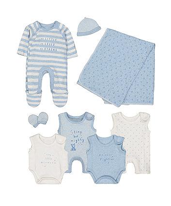 199cb23362ae9 blue premature baby eight-piece set