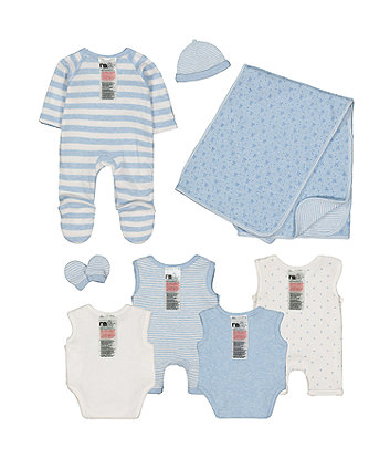 blue premature baby eight-piece set