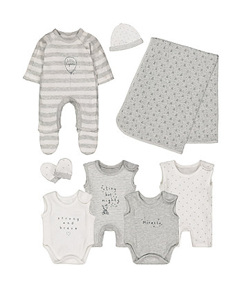 grey premature baby eight-piece set