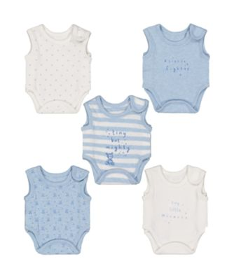blue premature baby bodysuits – 5 pack