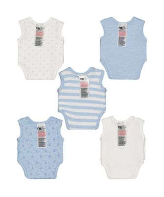 blue premature baby bodysuits – 5 pack