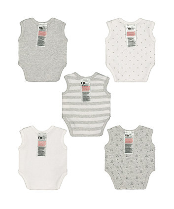 grey premature baby bodysuits – 5 pack