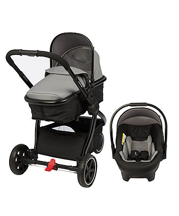 mothercare journey 3-wheel black travel system - charcoal