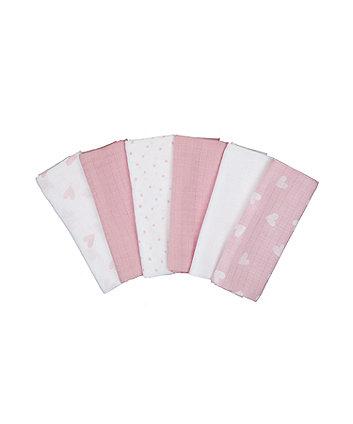 pink muslins - 6 pack