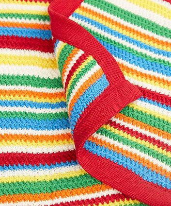 little bird stripe knitted blanket