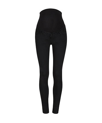 black skinny over-the-bump maternity jeans