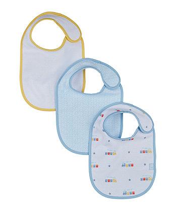 mothercare train newborn bibs - 3 pack