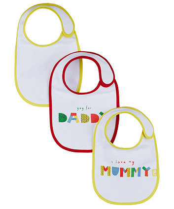 mothercare i love mummy and daddy newborn bibs - 3 pack