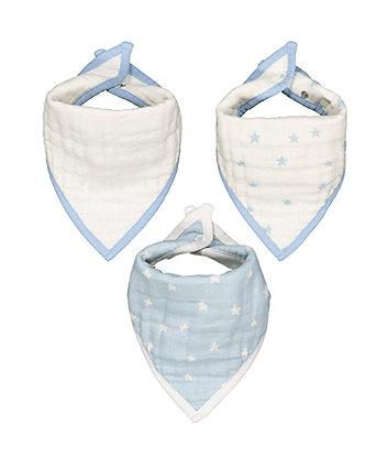 muslin dribbler bibs - blue