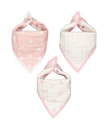 muslin dribbler bibs - pink