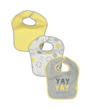 mothercare slogan bibs - 3 pack