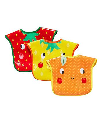 mothercare fruit faces oil cloth toddler bibs - 3 pack