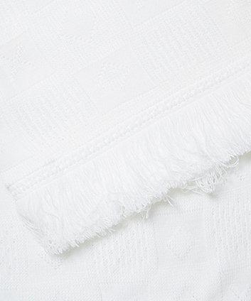 white fringe knit shawl