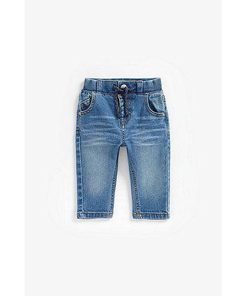 mid-wash denim jeans