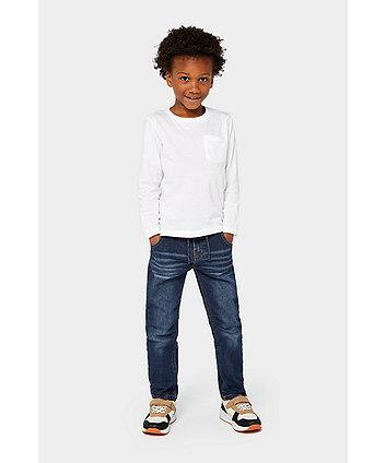 dark-wash rib waist jeans