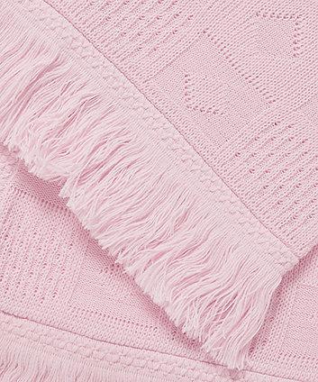 my first fringe knit shawl - pink