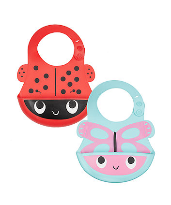 mothercare toddler silicone crumbcatcher bibs - 2 pack