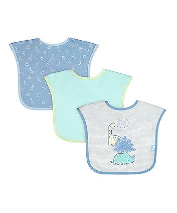 mothercare sleepysaurus toddler bibs - 3 pack