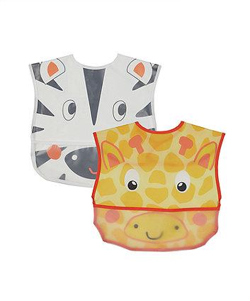mothercare safari toddler crumb catcher bibs - 2 pack