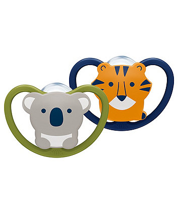 NUK silicone space soothers size 1 (0-6 months) 2 pack - koala/tiger