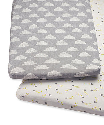 Snüz bedside crib 2 pack fitted sheets – cloud nine