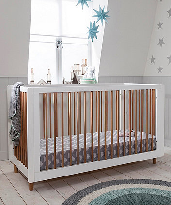 Siena 3 in 1 cot bed - white/beech