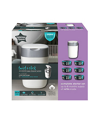 Tommee Tippee twist and click advanced nappy disposal sangenic starter pack