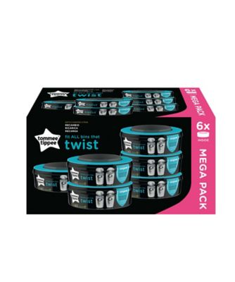 Tommee Tippee twist and click advanced nappy disposal sangenic refills x 6
