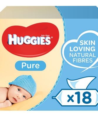 Huggies® pure baby wipes - 18 x single packs of 56 wipes