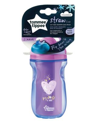 Tommee Tippee insulated straw cup 12m+ pink