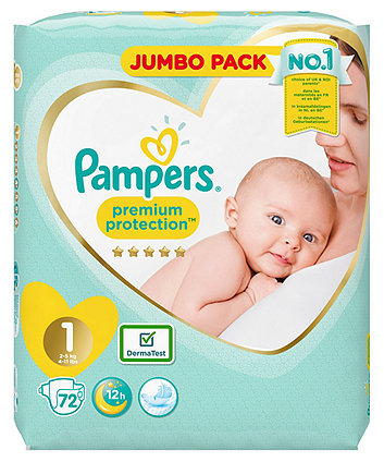Pampers premium protection nappies size 1 (2-5Kg/4-11lbs) - jumbo pack