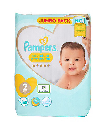 Pampers premium protection nappies size 2 (4-8kgs/9-18lbs) - jumbo pack