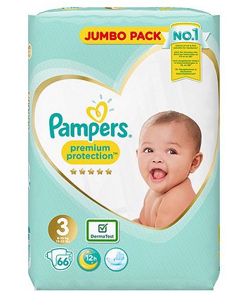 Pampers premium protection nappies size 3 (6-10kgs/13-22lbs) - jumbo pack