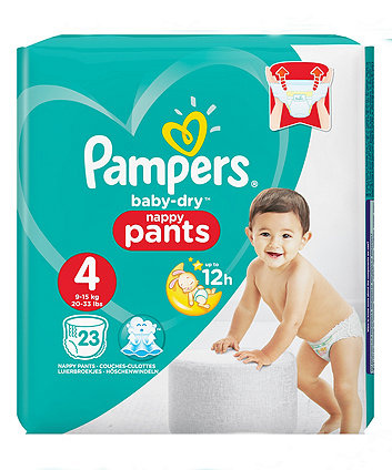 Pampers baby-dry pants size 4 (9-15kg/20-33lbs) - carry pack