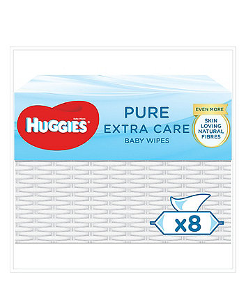 Huggies® pure 'extra care; baby wipes - 1 wicker basket (8 x single pack - 56 wipes)