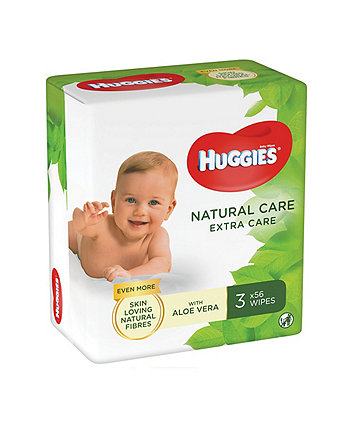 Huggies® natural care 'extra care' baby wipes - 3 pack (3 x 56 wipes)