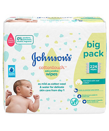 Johnson's cottontouch extra-sensitive wipes - 4 x 56 packs