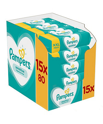 Pampers sensitive baby wipes - 15 x 80 packs