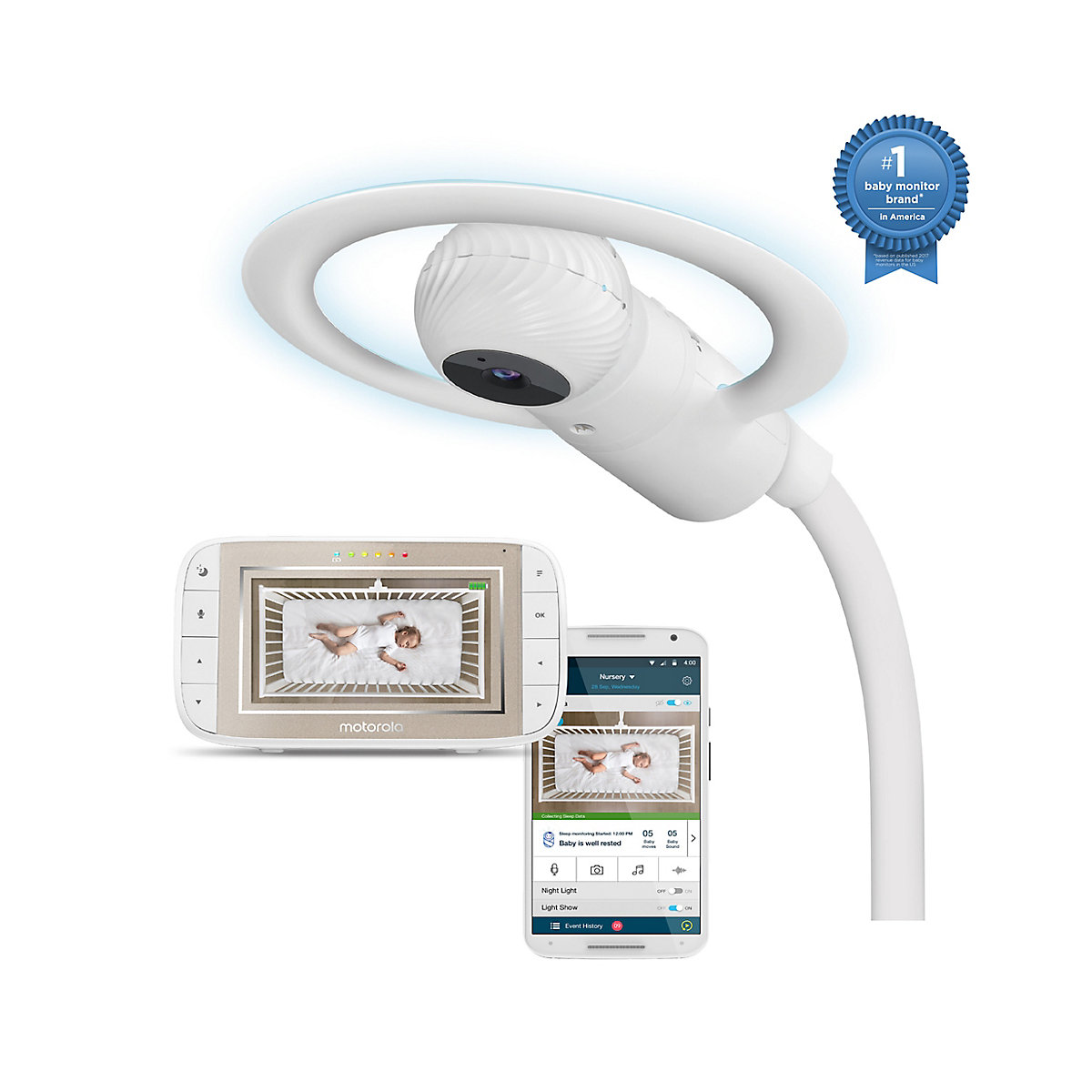 Motorola Halo+ MBP944 smart over-the-cot baby video monitor
