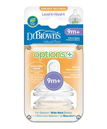 Dr Brown's options+ anti-colic level 4 teats - 2 pack