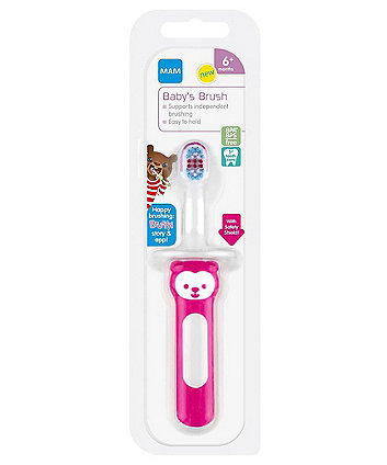 MAM baby's brush with safety shield - pink
