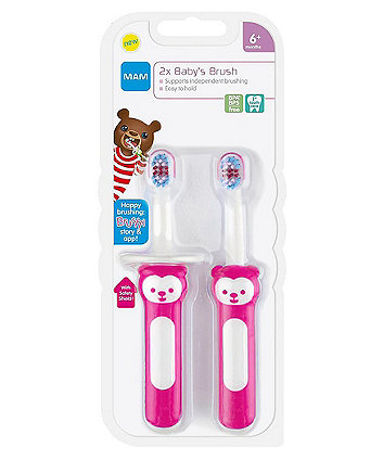 MAM first brush double pack with safety shield - pink