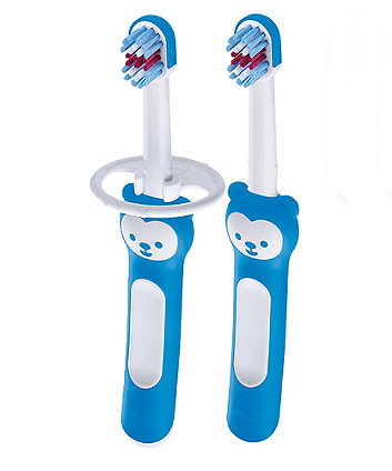 MAM first brush double pack with safety shield - blue