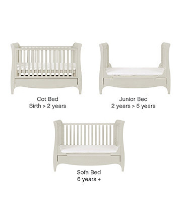 roma sleigh cot bed with under bed drawer - linen