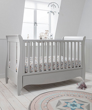 roma sleigh cot bed with under bed drawer - dove grey
